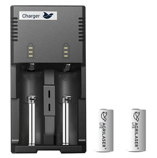 Batterij oplader en Agrilaser Lite batterijen